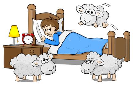 Schafe springen ber das Bett eines schlaflosen Mannes